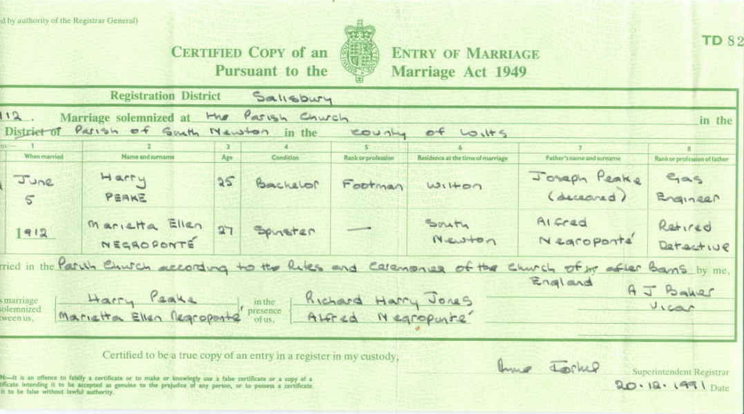 Documents: Harry Peake - Marietta Ellen Negroponte Marriage Certificate